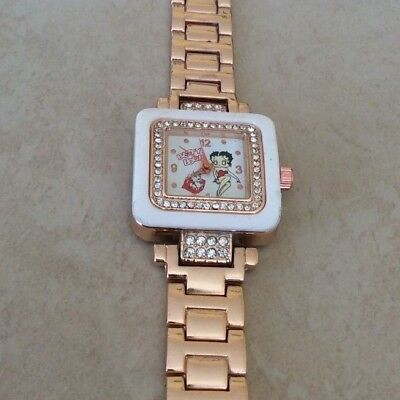 BETTY BOOP Rose Gold & White Square Crystal Watch Rose Gold Linked Bracelet NEW