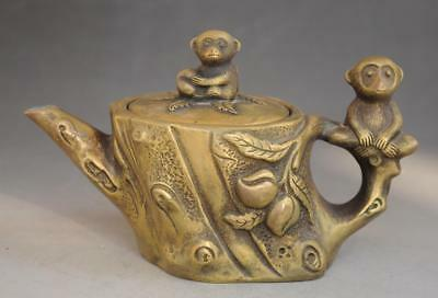 Chinese Old Pure Copper Hand Engraving  Lucky Monkey Animal Statue Teapot