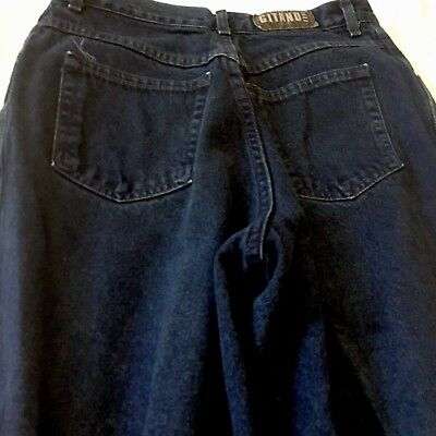 Vintage Gitano Mom Jeans High Waist Relaxed Fit Taper Leg 12P 90s Dark Wash