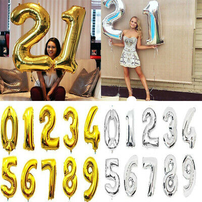 16/32/40 Inch Number Foil Balloon Helium Happy Birthday Party Wedding Decoration