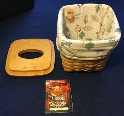 Longaberger Tall Tissue Basket with Lid and Cloth Liner 1998