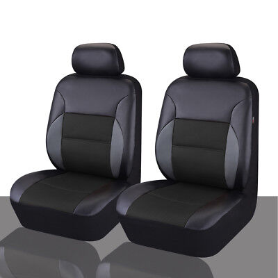 CARPASS PVC Leather Auto Car Seat Covers Full Synthetic Set 2 Front Seat Covers