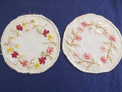 """2 Antique Society Silk Embroidered Flowers 4.5"""" Round Linen Doilies Coasters"""