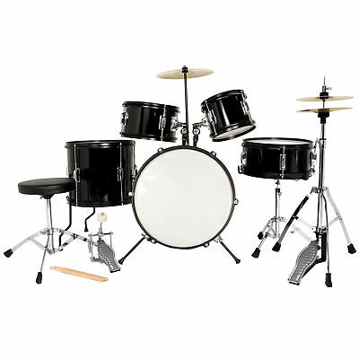 5 complete children's drum, cymbal kit, stools and clubs.Black new