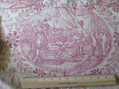 """Hand Blocked French Antique Faded Red & White Linen Toile Fabric Panel~78""""LX30""""W"""