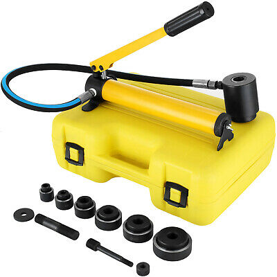 10 Ton Hydraulic Hand Pump Knockout Hole Punch Tool Kit Metal 6 Die
