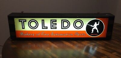 Rare Antique 1920s/30s Toledo Automotive Parts Lighted Sign Display Advertising