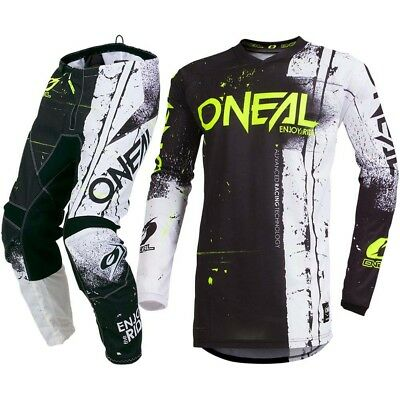 NEW Oneal 2019 Youth MX Element Shred Black Hi-Viz White Kids Motocross Gear Set