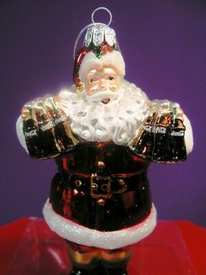 "Santa X-Mas Ornament Coca Cola ""coke Santa"" Ornament By Kurt S. Adler New In Box"