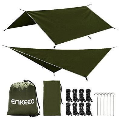 Portable Outdoor Rain Fly Camping Tarp Tent For Canopy Hammock Army Green