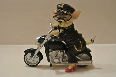"Westland ""aye Chihuahua"" Motorcycle Babe 4"" X 5"" Resin Chihuahua On Motorcycycle"