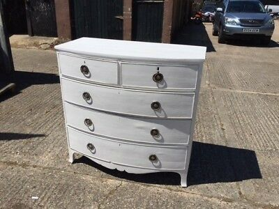 Victorian Bow Front Painted Chest of Drawers