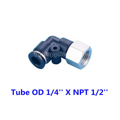 """5pcs Pneumatic Female Elbow Connector Tube OD 1/4"""" X NPT 1/2"""" Push In Fitting"""