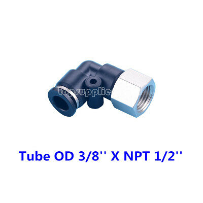 """5pcs Pneumatic Female Elbow Connector Tube OD 3/8"""" X NPT 1/2"""" Push In Fitting"""