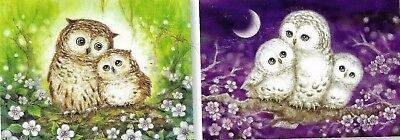 Owl Family Tapestries 30X40Cm Canvas To Stitch-Buy The Pair And Save $$$$$