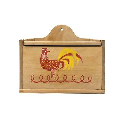 Vtg MCM Rooster Recipe Box Wood + Hand Written Typed Recipes Clippings