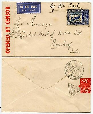 BURMA AIRMAIL CENSORED to INDIA 1942 RICE 3A 6p SINGLE FRANKING