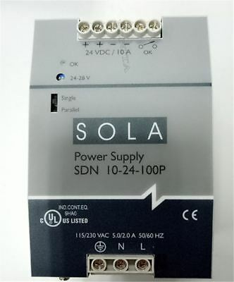 1Pc Used Sola Switching Power Sdn 10-24-100P DC24V 10A Tested um