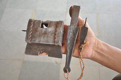 Old Iron Solid Handcrafted Strip System Padlock , Rich Patina