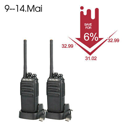 2x Retevis RT24 Plus Funkgerät Walkie Talkie 16CH UHF USB Ladeschale mit Headset