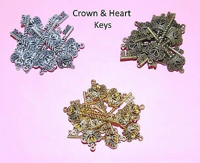 Crown & Heart Keys - Choice of Colour & Qty - Vintage Charm Steampunk Findings