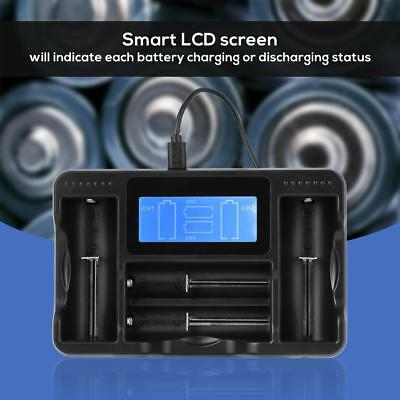 Smart Rechargeble Battery Charger LCD Display With USB Cable 1/2/4 Slots Li-ion