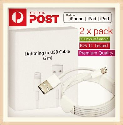 2X 2m Lightning Charging Cable Cord For Genuine Apple iPhone 5 6 7 S 8 X iPad