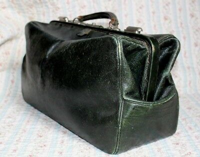 Fabulous Vintage / Antique Green Leather Doctors Bag With Green Satin Lining.