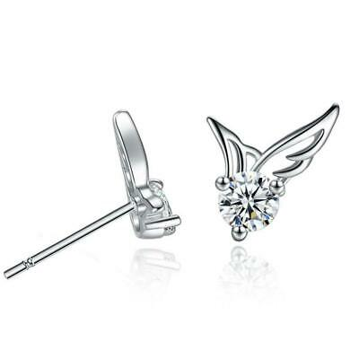 925 Sterling Silver Angel Wings Crystal Party Gift Birthday Top Stud Earrings