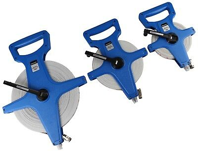 3 Silverline Surveyors Tape Measures - 1x 30 1x 50 1x 100 metre - Open Reel