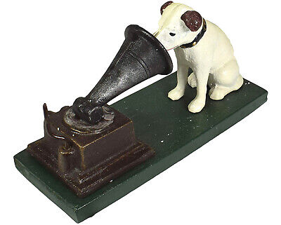 HMV Nipper Dog and Phonograph Gramophone Music - Cast Iron Ornament