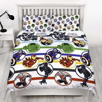 Marvel Avengers Strong Reversible Single Double Duvet Bedding & Pillow Set