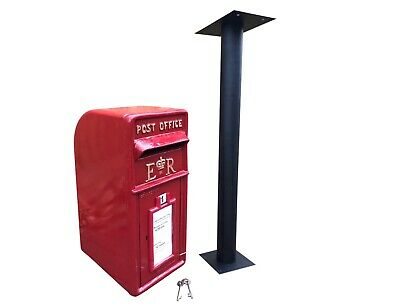 ER Post Box Postbox Letter Box and Stand - Cast Iron Royal Mail Pillar Red Large