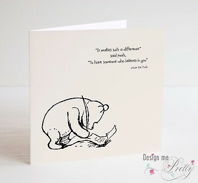 WINNIE THE POOH THANK YOU TEACHER CARD - School Leaver - Inspiration