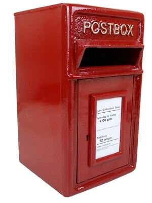 POSTBOX Letter Post Box Cast Iron Medium Plain Red Gold Heading