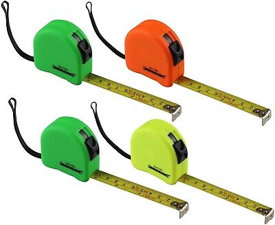 4 Silverline Tape Measures - 3 metre - Assorted Colours