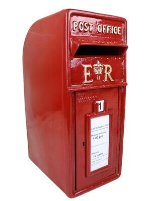 ER Post Box Postbox Letter Box - Cast Iron Royal Mail Pillar Red - Large