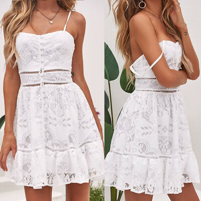 Sexy Women Summer Floral Flower Button Strappy Ruffles Backless White Lace Dress