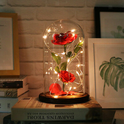 Artificial Silk Rose with LED in Glass Dome,Gift for Valentine's Day Wedding