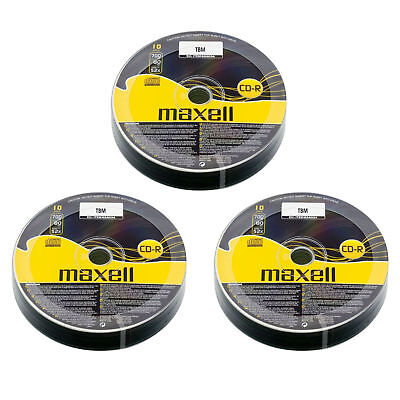 30 x Maxell CD-R 700mb 80Min 52x Blank Recordable Discs Data Music - Shrink Wrap