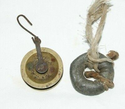 Antique Clock Pulley Wheel & Lead Weight