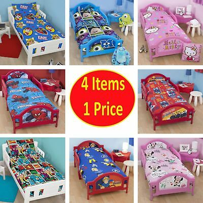 4in1 Bed Bundle Cot Single Bedding Set Quilt Pillow Boy Girl Kid Children Junior