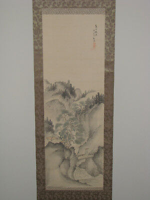 Japanese Hand Painted Hanging Scroll - Wise Man and Pine