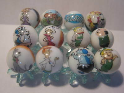 the JETSONS MARBLES 5/8 SIZE collection lot + STANDS