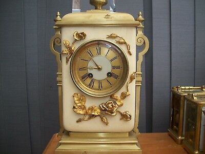 Super Antique French Porcelain & Bronze Ormolu 8 Day Striking Mantel Clock C1870