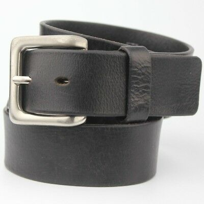 "M&S Black Retro Vintage Thick Real Leather Belt 4cm Wide Fits 32-34"" Waist"