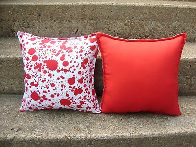 "Set of 2 Blood Spatter Halloween HORROR HOUSE 13"" Gothic Throw Pillows POPPYWISE"