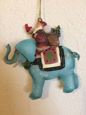 Santa On Elephant Christmas Ornament