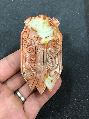 Ancient Chinese HETIAN Jade Hand Hollow Carving vivid Cicada Amulet Pendant S1