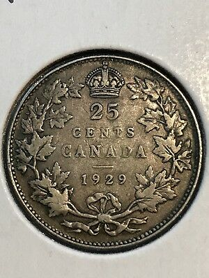 1929 Canada / Canadian Quarter George V - 1/8/18 - Free Shipping